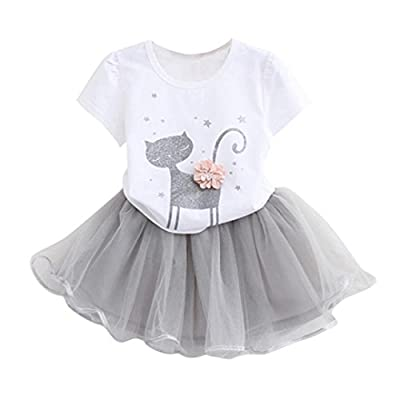 Cat shirt G-real Top+Skirt, Toddler Baby Girls Kids Cartoon Kitty Print...