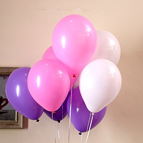 100/pack 12'' Thicked Balloons (Pink &Purple &White) Wedding Party Decorations Latex Round Balloon