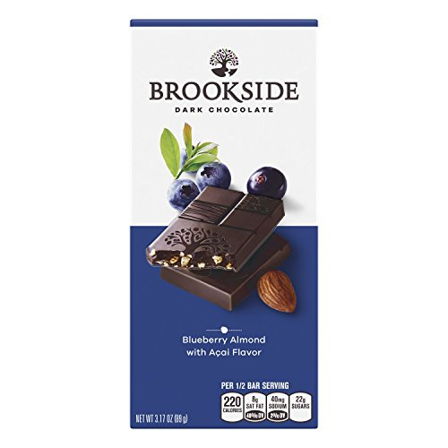 BROOKSIDE Blueberry Almond Dark Chocolate Candy Bar, Semisweet Dark Chocolate with Blueberry, Almonds, and Acai Flavor, 3.17 Ounce (Pack of 12)