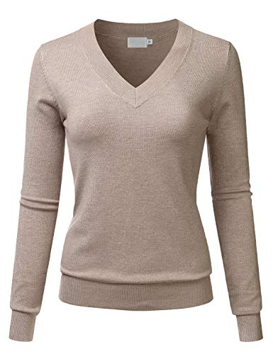 LALABEE Women's V-Neck Long Sleeve Soft Basic Pullover Knit Sweater Camel - Sweater V-neck Basic