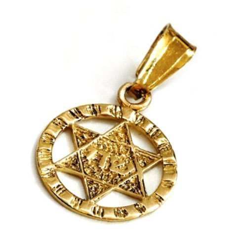 Star of David 14k Gold Round Textured (Glass Textured Sterling Silver Necklace)