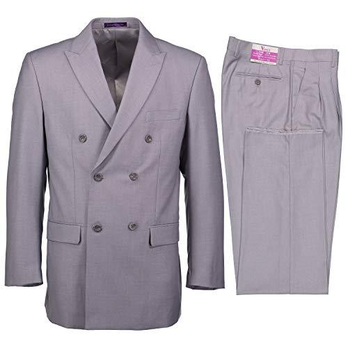 VINCI Men's Premium Solid Double Breasted 6 Button Classic Fit Suit Light Gray | Size: 44 Regular / 38 Waist