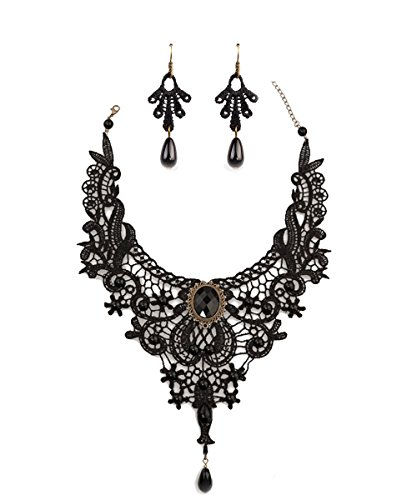 Mysterious Black Lace Necklace Earring Set Beads Pendant Gift For Womens Girls