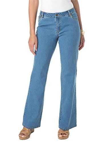 Jessica London Women's Plus Size Petite Bootcut Jeans – 12 Plus, Medium Stonewash