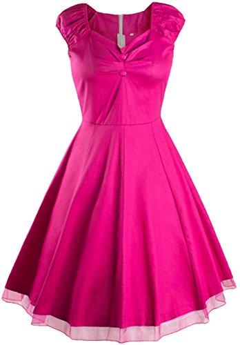 Wenseny Mujer Vestidos Retro Vintage Lunares Dobladillo de Encaje Cóctel Vestido Rose