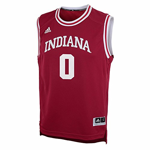 Indiana Hoosiers NCAA Adidas Red Official Road Away Replica #0 Basketball Jersey For Youth (L) (Away Youth Jersey Official Replica)