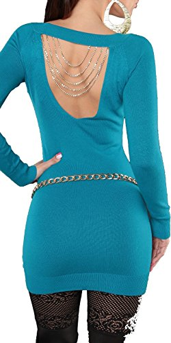 femme BOUTIK 36 et Turquoise sexy chaines 38 avec long 40 FASHION dos au 34 strass pull taille zXOzd