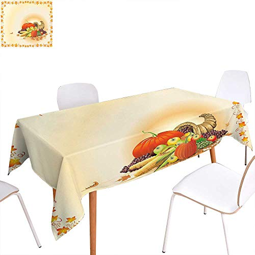 familytaste Harvest Printed Tablecloth Maple Tree Frame with Rustic Composition for Thanksgiving Halloween Dinner Food Rectangle Tablecloth 60