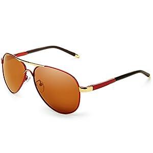 IALUKU Aviator Polarized Sunglasses Metal Frame Pilot Glasses Men Women