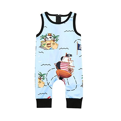 (G-real Toddler Baby Boys Cute Cartoon Pirate Romper Jumpsuit Zip Sleeveless Bodysuit (Blue, 12M))