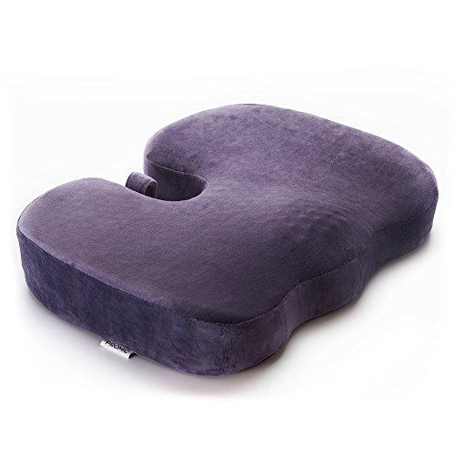 PROMIC Coccyx Seat Cushion, Non-slip Memory Foam Chair Cushions to Relief Back, Sciatica & Tailbone Pain, Ideal for Office Chair, Car Seat, Wheelchair, Pregnancy (Vanilla Purple) by PROMIC