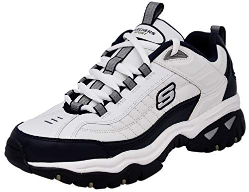 (Skechers Men's Energy Afterburn Lace-Up Sneaker, White/Navy Blue, 8.5 M US)