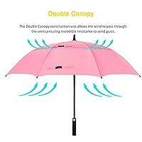 ZOMAKE Automatic Open Golf Umbrella 62/68 Inch - Large Rain Umbrella Oversize Windproof Umbrella Double Canopy for Men (Pink)