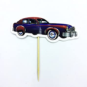 Amazon Com Luxury Cars Cupcake Toppers Birthday Party Vintage