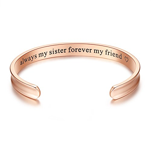 Always My Sister Forever My Friend  Grooved Cuff Bangle Bracelet  Sister Gift  Jewelry Gifts For Women  Sister  Girls  Birthday  Friendship  Thanksgiving  Christmas  Anniversary Day Gift  Rose Gold