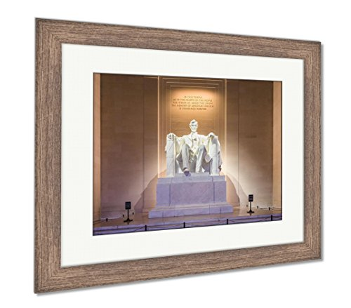 Ashley Framed Prints Abraham Lincoln Memorial, Wall Art Home Decoration, Color, 34x40 (frame size), Rustic Barn Wood Frame, (Lincoln Memorial Framed Photograph)