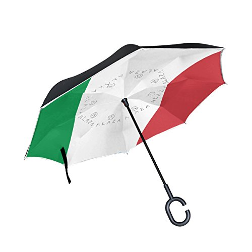 THENAHOME Reverse Inverted Auto Open Umbrella Compact Lightweight Straight Umbrellas with Italy Flag for Car & Outdoor by THENAHOME