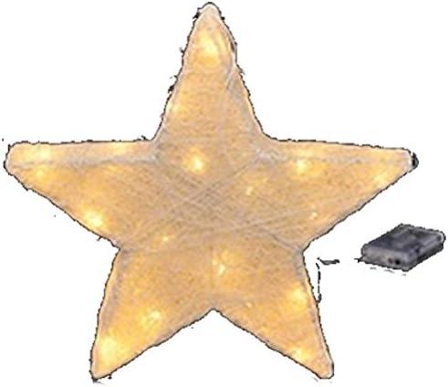 LED Sisal Stern Weihnachtsstern beleuchtet Weihnachtsdeko Batteriebetrieben