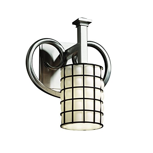 Justice Design Group Wire Glass 1-Light Wall Sconce - Brushed Nickel Finish with Grid with Opal Wire Cage with Blown Glass Shade