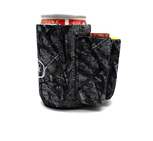 Beer Can Chuggie With Two Pockets - Holds Cigarette And Lighter, Phone, Keys, 3mm Neoprene (American Flag Pattern) (Camo, 1 Pack)