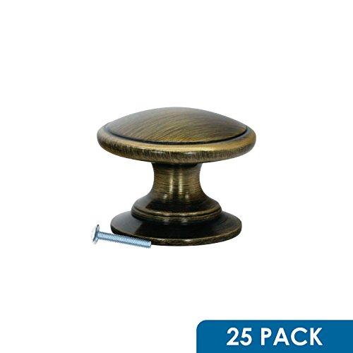 Rok Hardware Classic Mushroom Round Top Style Metal Decorative Kitchen Dresser Cabinet Drawer Knob 1-1/4