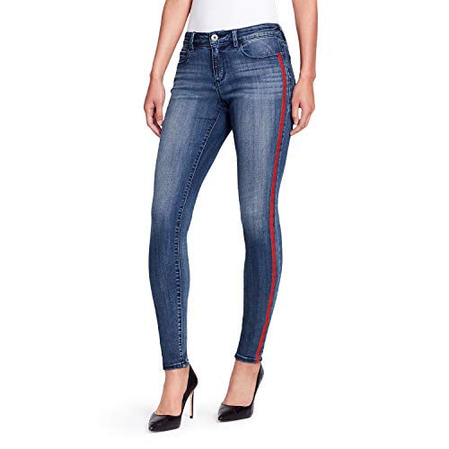 49398297a59f Skinnygirl Women's The Skinny Jean in Injeanious Stretch Denim, Bowery/red  Tipping Stripe, 24