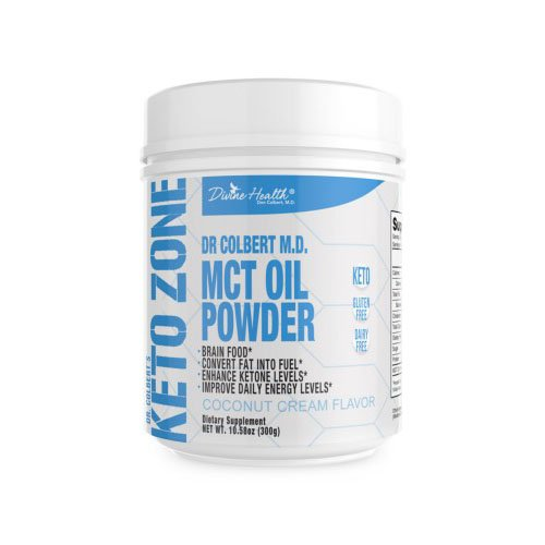 Keto Zone MCT Oil Powder (Coconut Flavor) (300 grams) (30 Day Supply) - Recommended in Dr. Colbert's Keto Zone Diet - Alternative Coffee and Tea Creamer - Ketogenic Recommended - Dairy Free - Soy Free - Mct Oil Diet