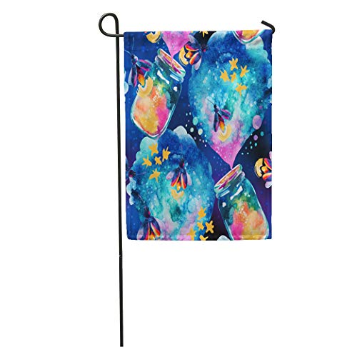 Semtomn Garden Flag Abstract Fairy Tale Magic Bottle and Firefly Watercolor Lantern Home Yard House Decor Barnner Outdoor Stand 28x40 Inches Flag]()
