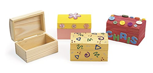 Colorations Wooden Treasure Boxes - Set of 12 (Item # LOKBOX)