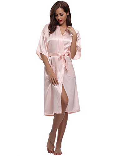 Nuisette Japon Chemise Long Kimono Satin Aibrou Peignoir Goût Chambre Nuit De Un Confortable Rose Satinée Robe Femmes Coquet Féminin Clair Longue YIYqCOwU