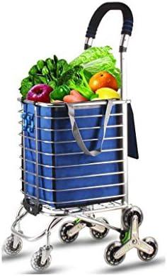 折りたたみ式ショッピングカート、軽量アルミ合金食料品買い物かご小型カート折りたたみ式ポータブルトロリー家庭用荷物トレーラー (色 : D)