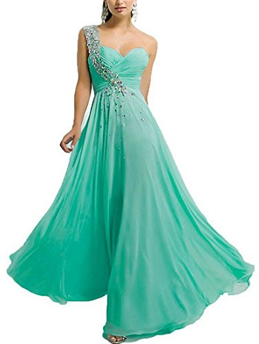 One-Shoulder Beaded Chiffon Plus Size Evening Prom Dress Long Formal Party Gown Ruched Bodice Size 22 Turquoise