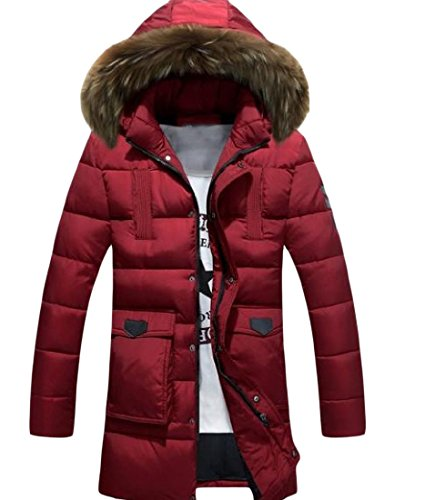 Jacket Thickened Warm Men Parka Red Colour LonHoodie Mid Howme Wine Pure qwt8xU6