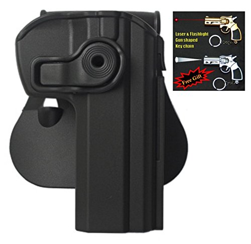 Omega Chain Slide - IMI-Z1330 - CZ 75/75 B Compact/75 Omega/CZ75 BD/CZ 85 Holster - Has an option to detach a single Mag Pouch + Laser & Flashlight Gun Shaped Key Chain. (Black)