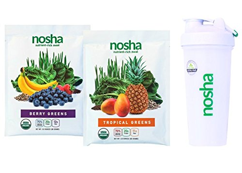 Nosha Whole Food Meal Replacement w/Nutrient-Rich Greens, Seeds, and Fruit (certified organic, vegan, gluten-free, no added sugar or stevia) VARIETY KIT 4 pack + Blender Bottle