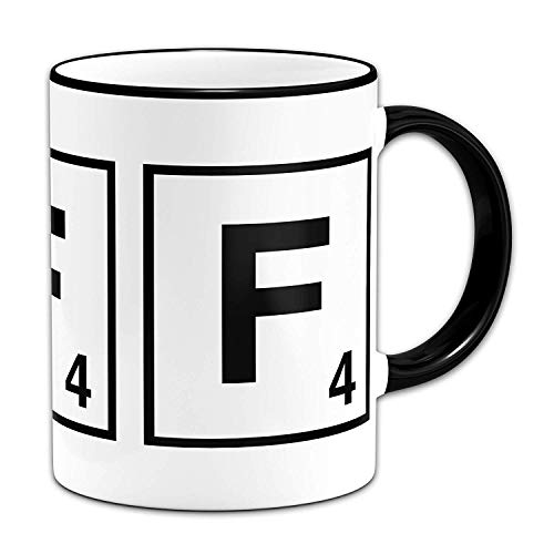 Funny Mugs Scrabble Letter - Letter F - Gift Mug + Black Rim & Handle (Mug F Letter)