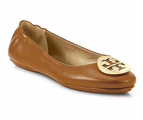 Tory Burch Minnie Travel Ballet Flat, Royal Tan/Gold Size - Brown Tory Burch