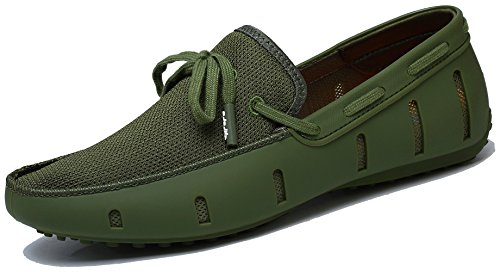 Adadila Men's Classic Braided Lace Loafer Breathable Slip On Ultra Light Shoes Green 45