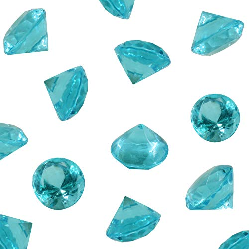 Tiffany Blue Acrylic Diamond Vase Fillers 1 Pound - 240 pcs 3/4 Inch Wedding Party Event Banquet Birthday Decoration Crystals Gem Table Scatters (Tiffany Blue, 240 pcs)]()