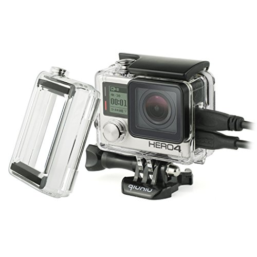 Side Open Protective Skeleton Housing Case with LCD Touch Backdoor and BacPac Backdoor for Extended LCD Screen or Expansion Battery - Compatible with GoPro Hero 4, 3, and 3+ - - 4 Battery Bacpac Hero Gopro