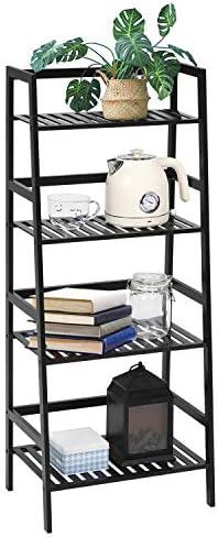 Greenvelly Black Ladder Shelf Bookcase 4 Tier Bamboo Ladder Bookshelf Stand