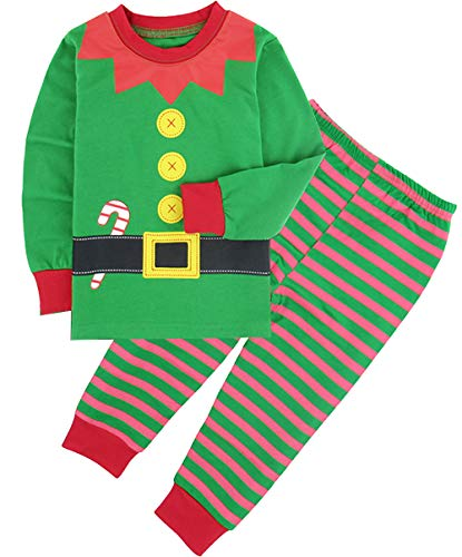 (COSLAND Boys' Christmas Pajamas Set Kids Green Elf Costume (Elf,)