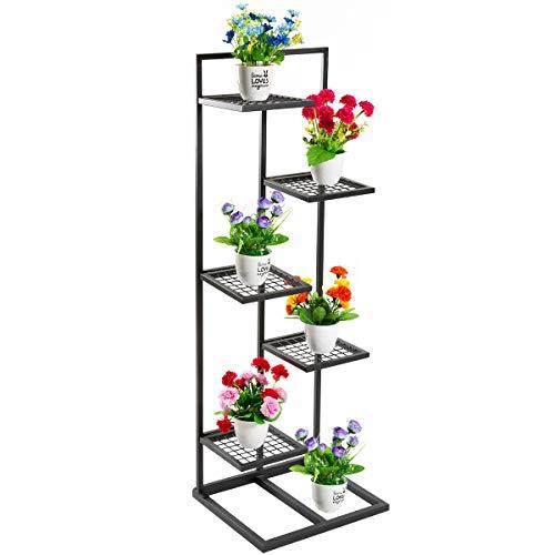 DOEWORKS 5 Tier Metal Plant Stand Flower Pots Stander Display Pots Holder for Indoor Outdoor Use, Black (Planter Corner Stand)