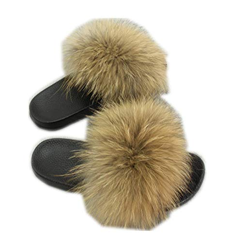 QMFUR Real Fox Fur Slippers Slides Kids to Adults Slip On Sandals Parent-Child Shoes (Women12, Natural Raccoon)