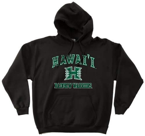 NCAA Hawaii Rainbow Warriors 50/50 Blended 8-Ounce Vintage Mascot Hooded Sweatshirt, Medium, Black