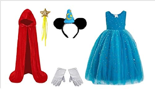 Chunks of Charm Fantasy Wizard Mickie Costume Inspired Dress/Accessories from (Red Cloak S)