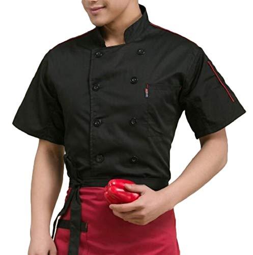 YYear Men 1/2 Sleeve Cake Work Short Sleeve Summer Uniform Working Chef Jacket Coat Black 2XL