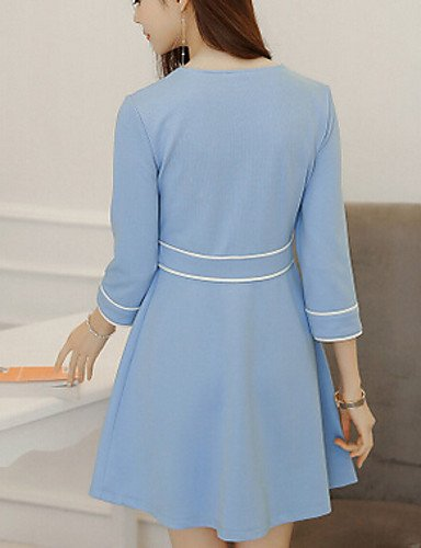 PU&PU Robe Aux femmes Trapèze Vintage,Rayé Col Arrondi Au dessus du genou Polyester / Spandex , light blue-m , light blue-m