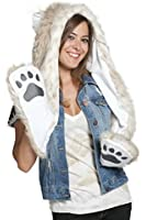 Snow Leopard Full Animal Hoodie Faux FUR Hat 3-in-1 Function
