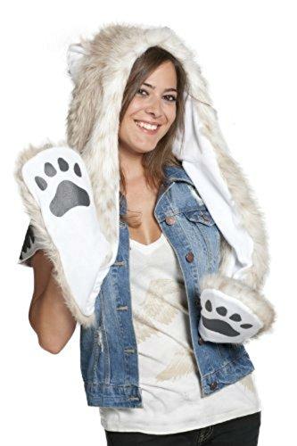 Animal Hoodie Child Leopard (Snow Leopard Full Animal Hoodie Faux FUR Hat 3-in-1 Function)